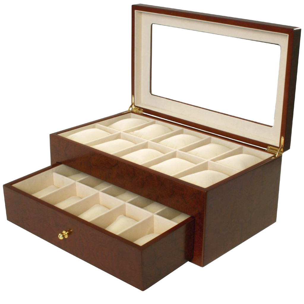 Matte Burlwood XXL Watch Box - Montego - TechSwiss - Main View