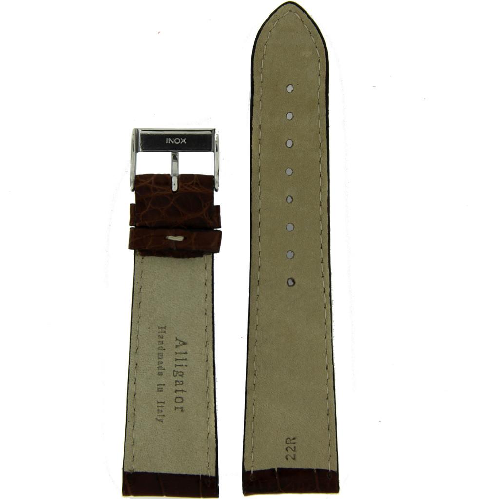Watch Band Genuine Alligator Brown White Stitching Mens 18mm - 22mm