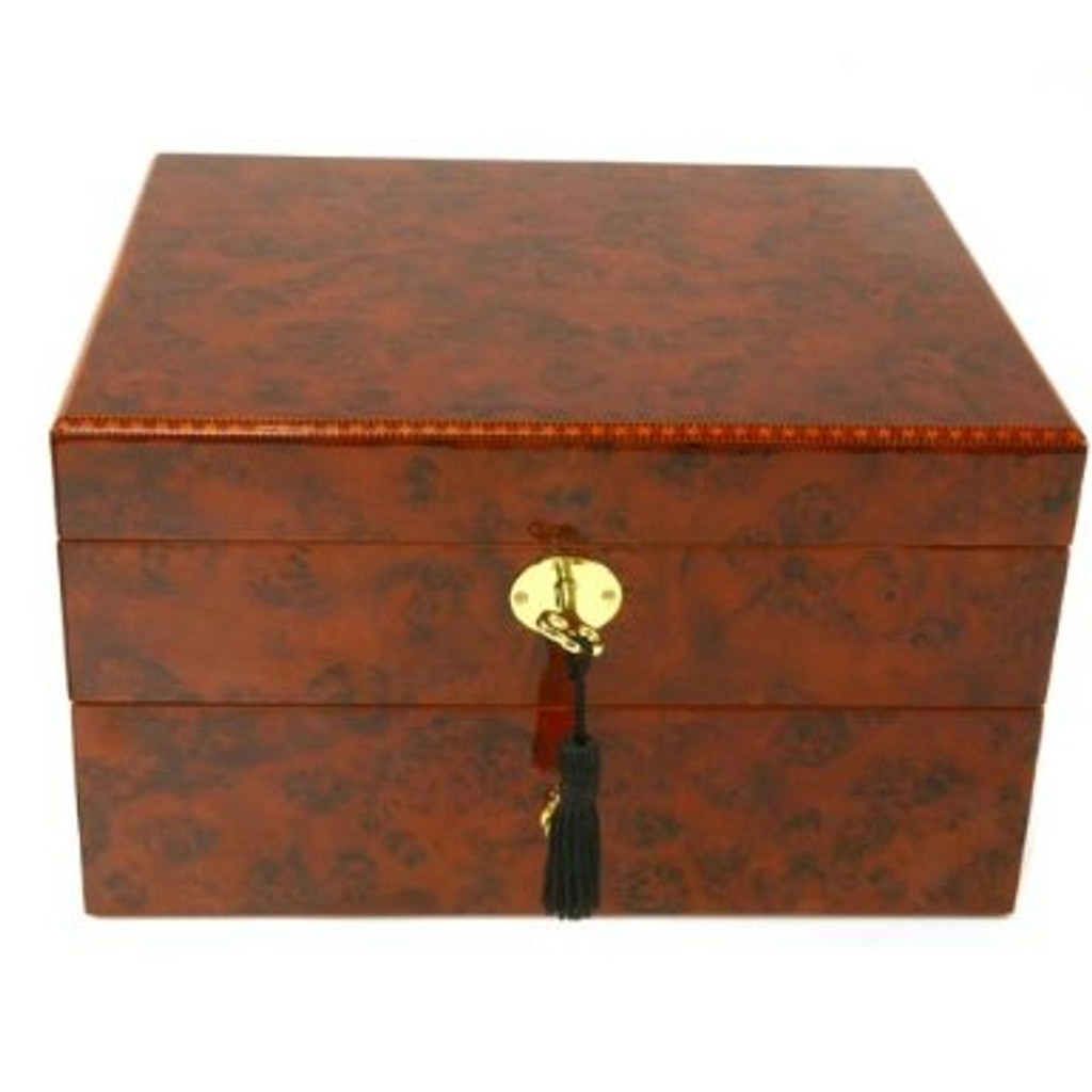 Burlwood watch Box with Tassel Key - BOXBUR20 - Closed