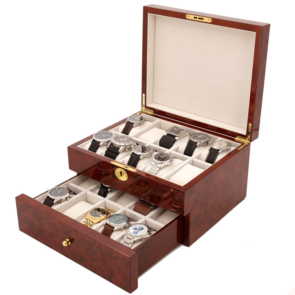 Burlwood watch Box with Tassel Key - BOXBUR20 - Front