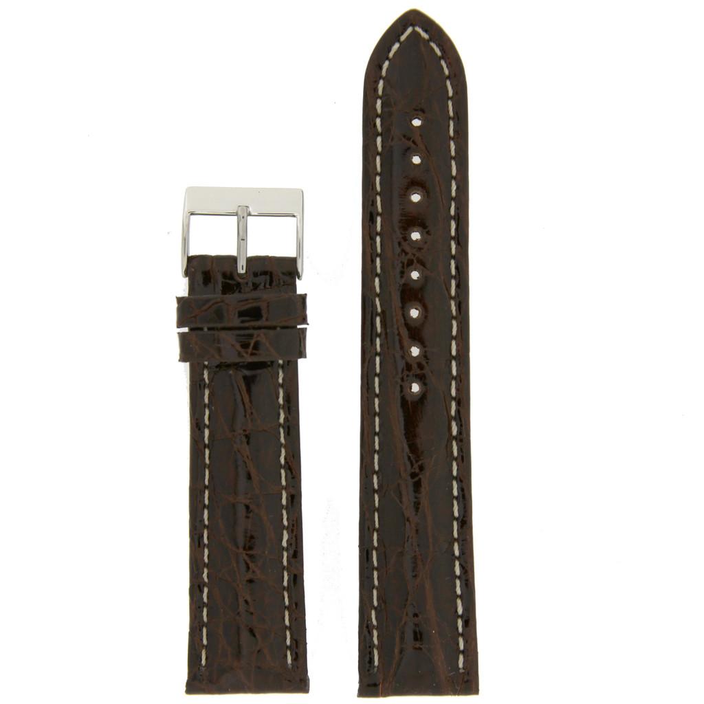 Watch Band Genuine Crocodile Dark Brown Thick Padded White Stitched
