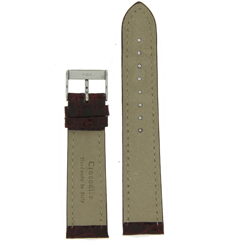 Watch Band Genuine Crocodile Burgundy Thick Padded White Stitched