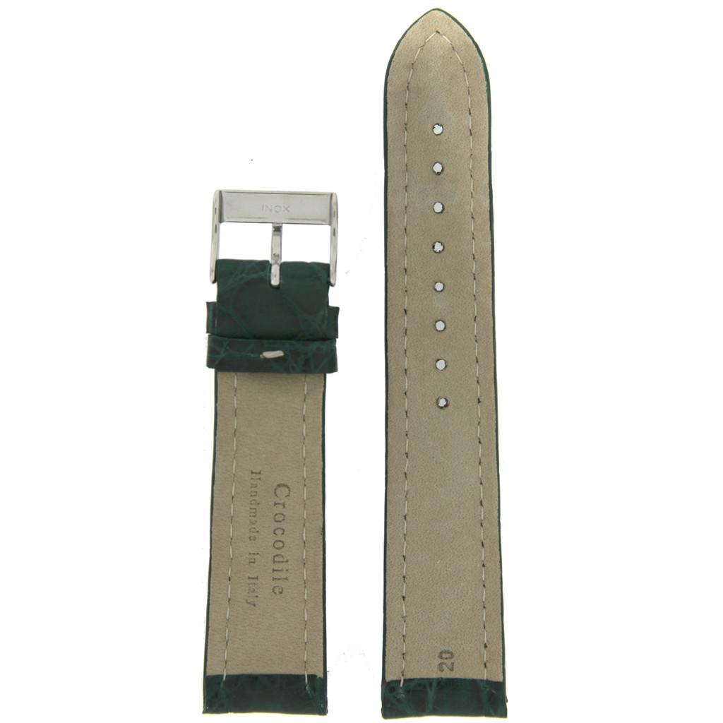 Dark Green Crocodile Genuine Leather Watch Band   Exotic Skin Straps   TechSwiss LEA875   Lining