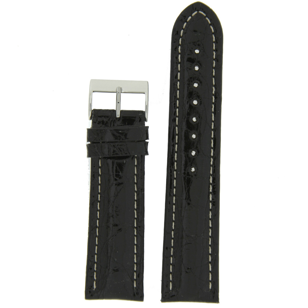 Watch Band Genuine Crocodile Black Padded White Stitched
