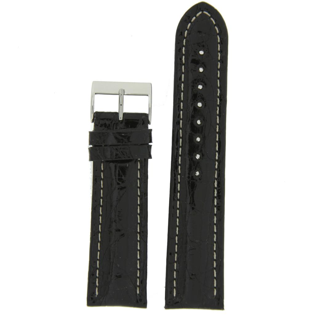 Watch Band Genuine Crocodile Black Padded White Stitched 18mm 20mm 22mm