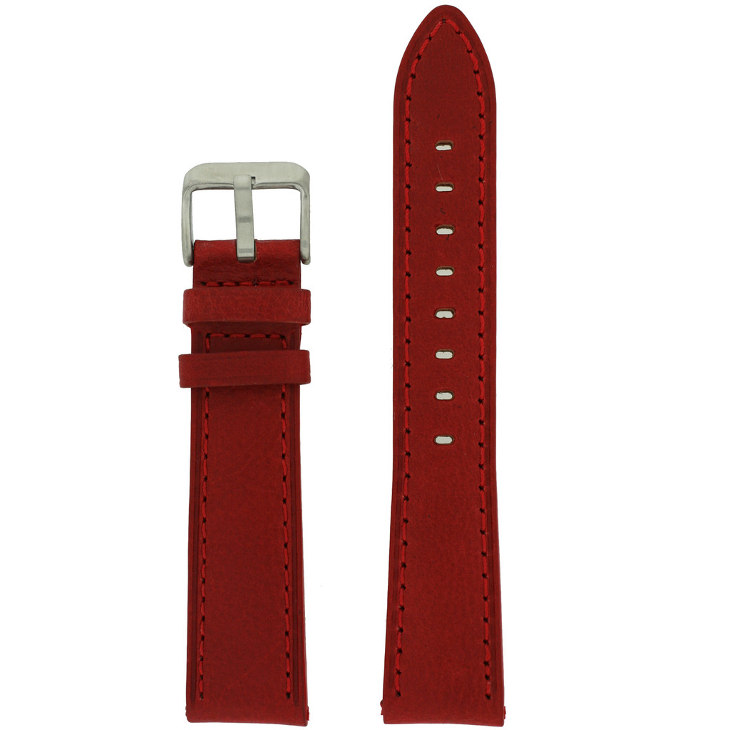 Red Leather Watch Band with Stainless Steel Buckle | TechSwiss LEA450 | Main