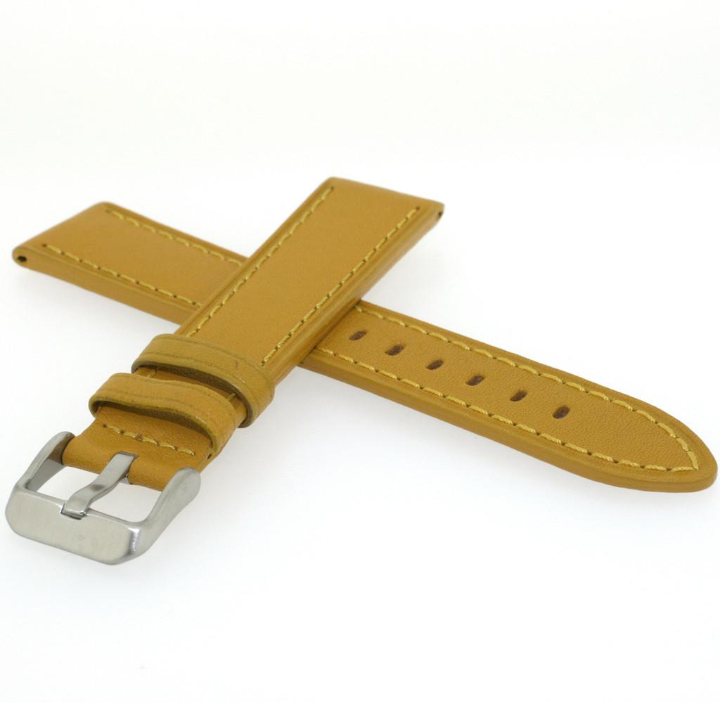 Mustard Yellow Calfskin Leather Watch Band   TechSwiss Yellow Leather Straps    TechSwiss LEA452   Side