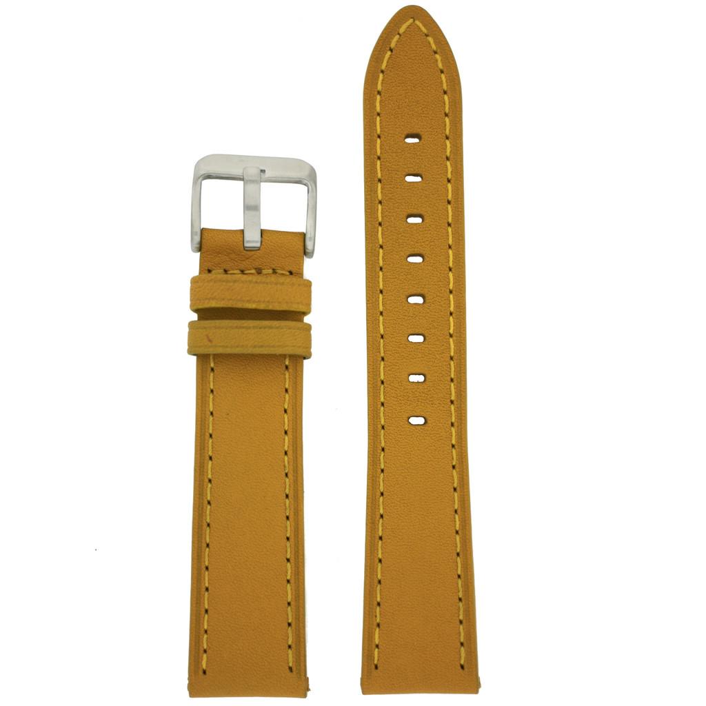 Mustard Yellow Calfskin Leather Watch Band   TechSwiss Yellow Leather Straps    TechSwiss LEA452   Main