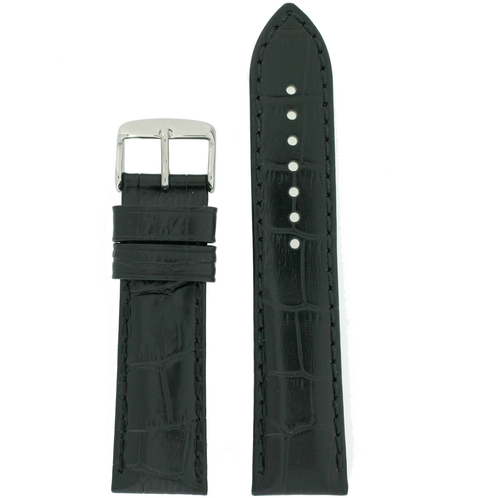 Long Black Leather Watch Band   Long Crocodile Grain Watch Straps   Stainless Steel Buckle   Long TechSwiss Leather Bands   TechSwiss LEA1840   Main