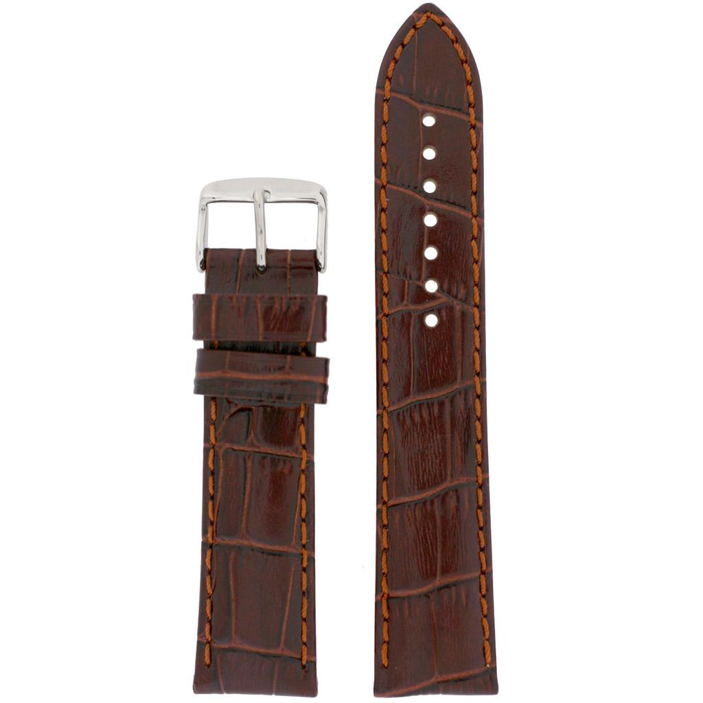 Long Brown Leather Watch Band | Long Crocodile Grain Leather Watch Strap | TechSwiss Long Watch Bands | TechSwiss LEA1850 | Main