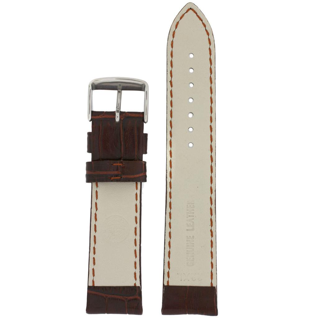 Long Brown Leather Watch Band | Long Crocodile Grain Leather Watch Strap | TechSwiss Long Watch Bands | TechSwiss LEA1850 | Lining