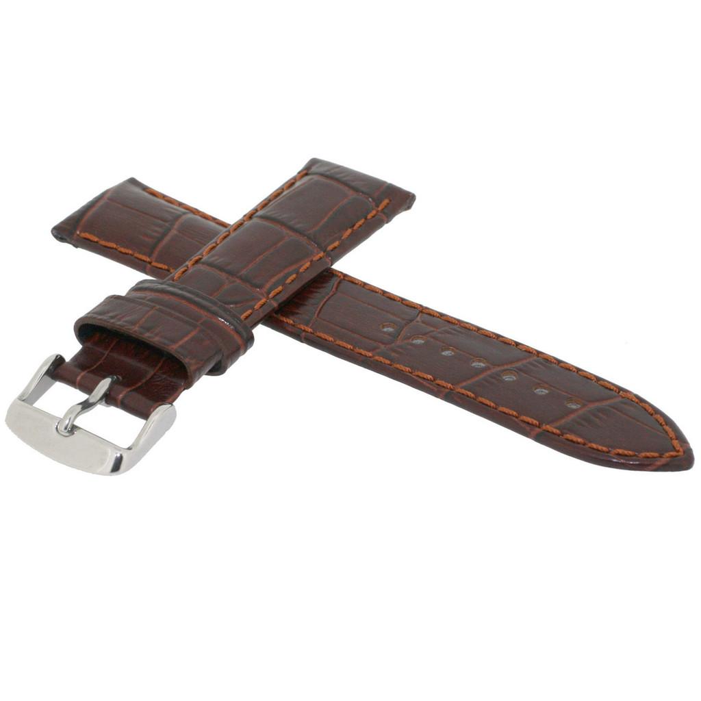 Long Brown Leather Watch Band | Long Crocodile Grain Leather Watch Strap | TechSwiss Long Watch Bands | TechSwiss LEA1850 | Side