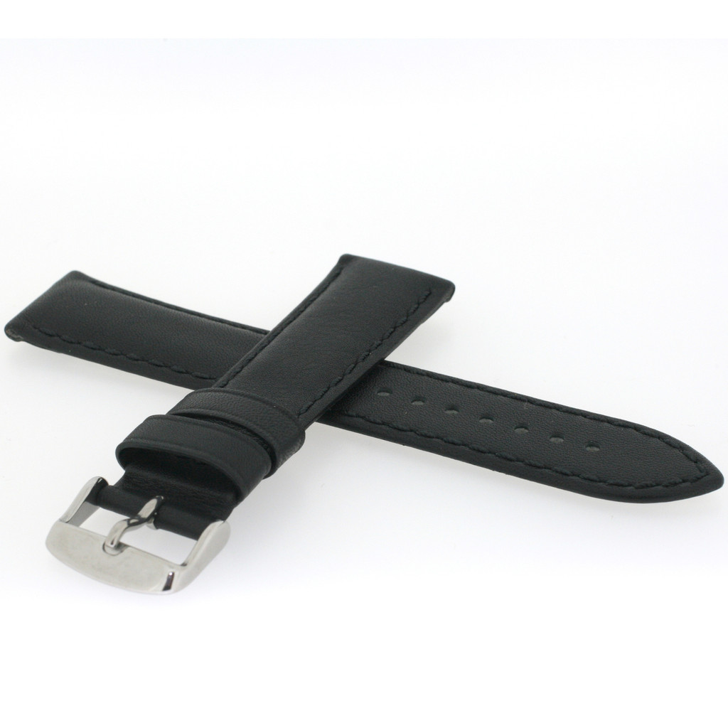 Long Black Leather Watch Band | Stainless Steel Buckle | Traditional Leather Watch Straps | TechSwiss LEA1900 | Side