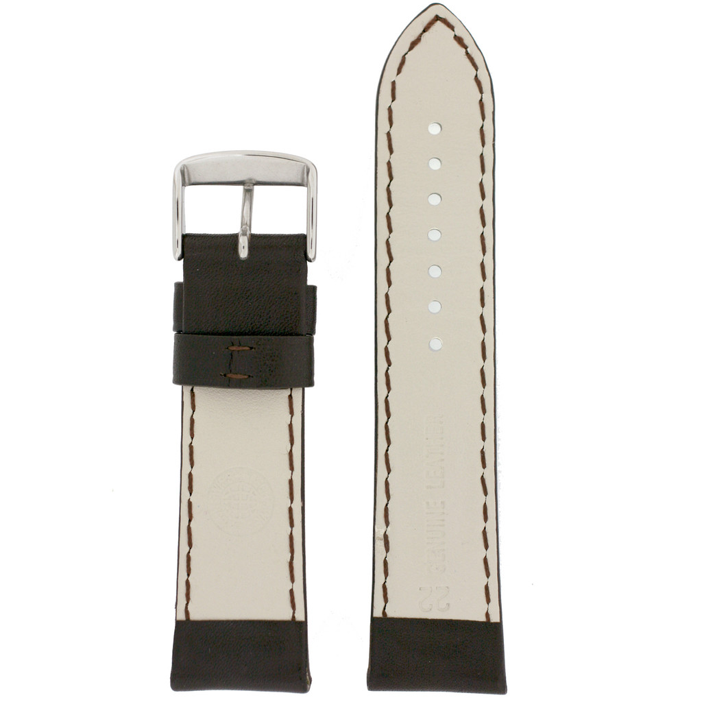 Long Dark Brown Leather Watch Band with Topstitch   Padded Classic Leather Straps   TechSwiss LEA1910   Lining