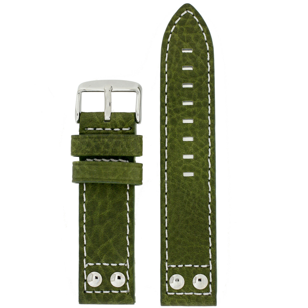Green Pilot Watch Band with White Contrast Stitching | TechSwiss LEA1925 | Main