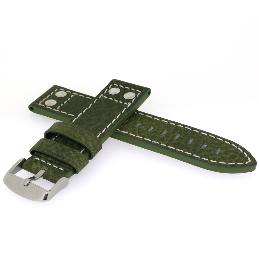 Green Pilot Watch Band with White Contrast Stitching | TechSwiss LEA1925 | Side