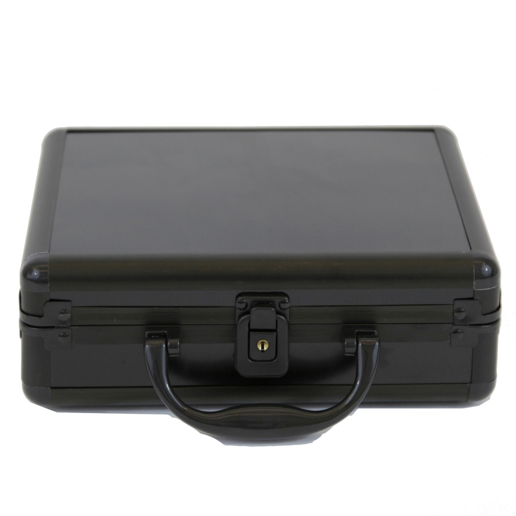 Black Aluminum Watch Box for 8 boxes | TechSwiss ALBX08BK | Closed Front