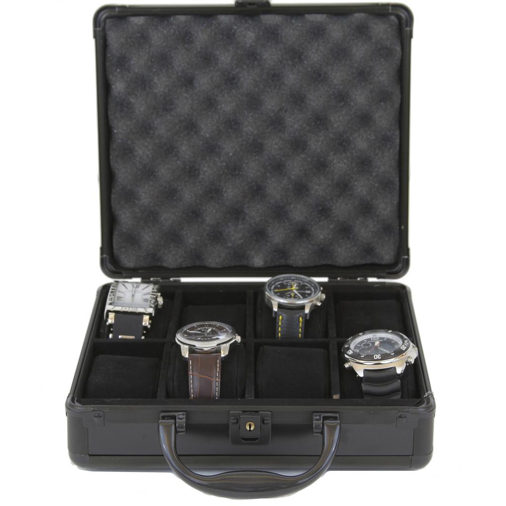 Black Aluminum Watch Box for 8 boxes | TechSwiss ALBX08BK | Open Front