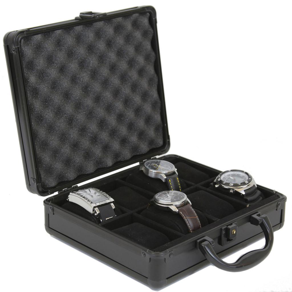 Black Aluminum Watch Box for 8 boxes | TechSwiss ALBX08BK | Open Side