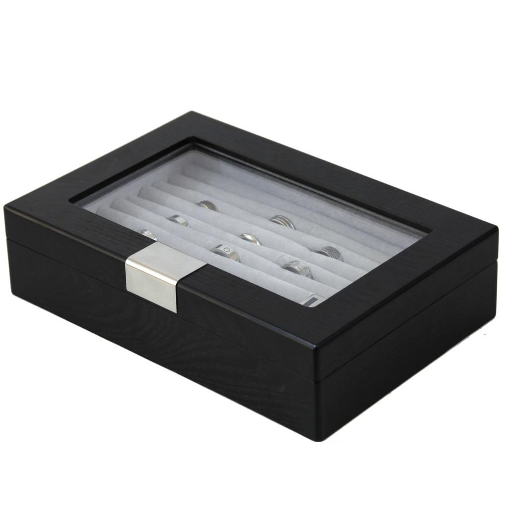 Black Wood Ring Box | Engravable Black Cufflink Case | Ring and Cufflink Storage Case | Ring and Cufflink Black Wood Box | TechSwiss | TSRB610ESSBK | Closed