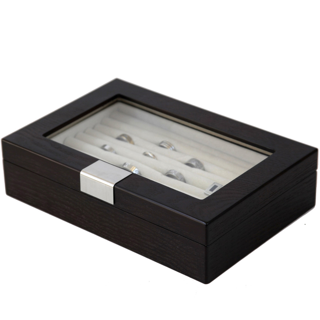 Modern Ring Box | Wood Ring Box | Mens Ring Organizer | TechSwiss TSRB620ESSBRN | Closed