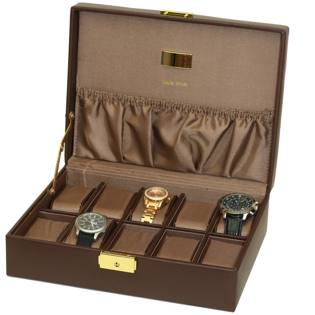 Brown Leather Watch Case with Pocket   TechSwiss Brown Leather Watch Case with Gold Clasp   TS4100BRN   Main