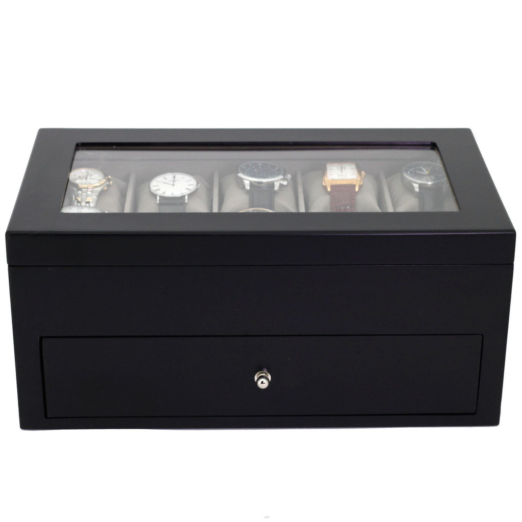 Black Wood Watch Box for 20 Watches| TechSwiss TSBXA20BK | Closed