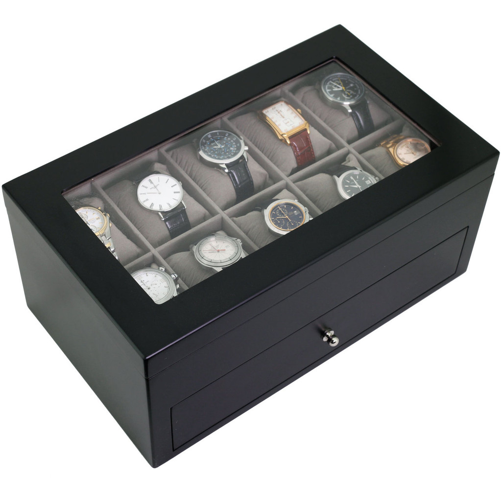 Black Wood Watch Box for 20 Watches| TechSwiss TSBXA20BK | Front