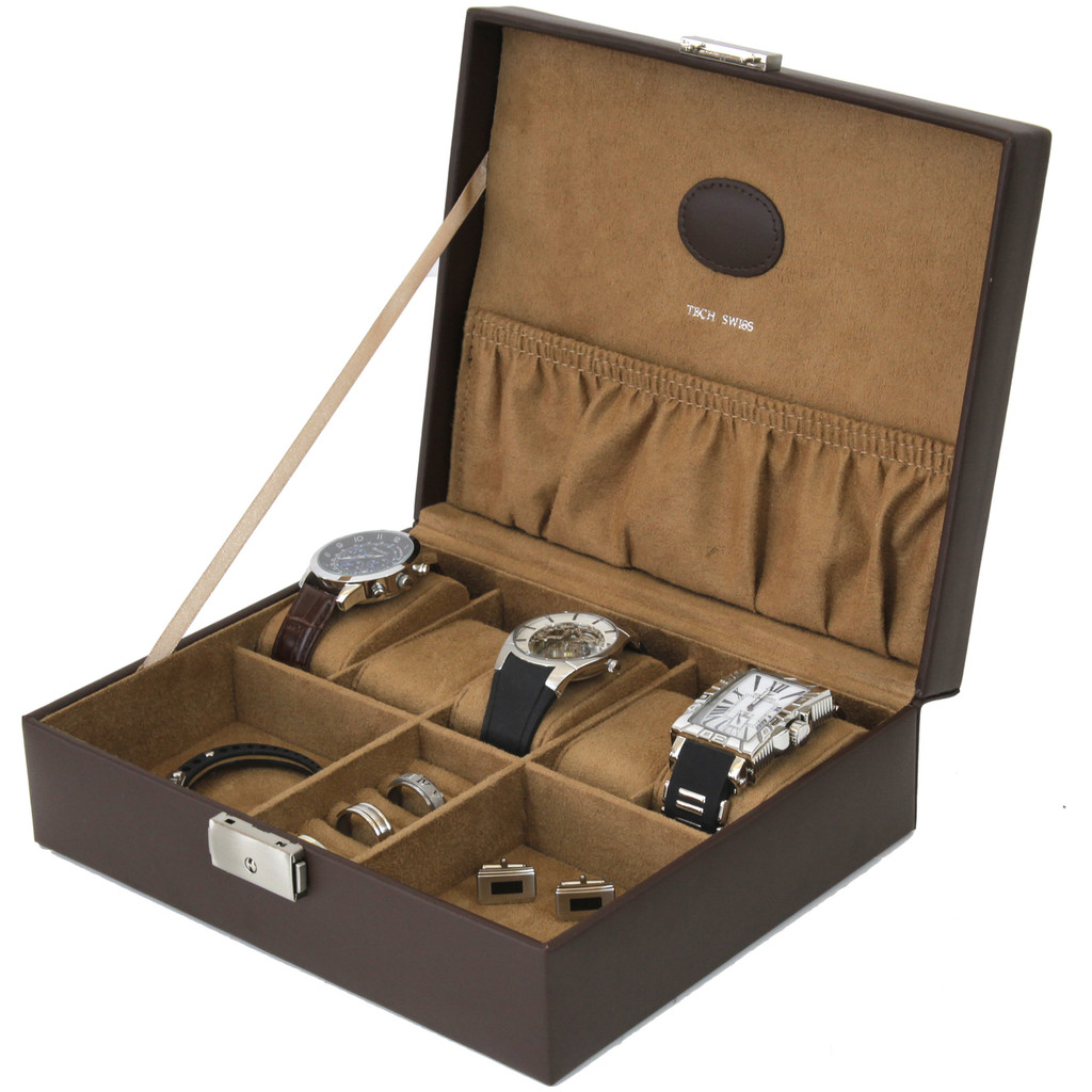 Brown Leather Storage Valet Case Watches Jewelry (TS5210BRN) open side angle picture