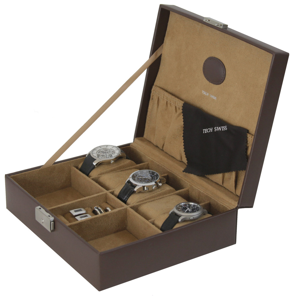 Brown Leather Storage Valet Case Watches Jewelry (TS5210BRN) open slanted picture