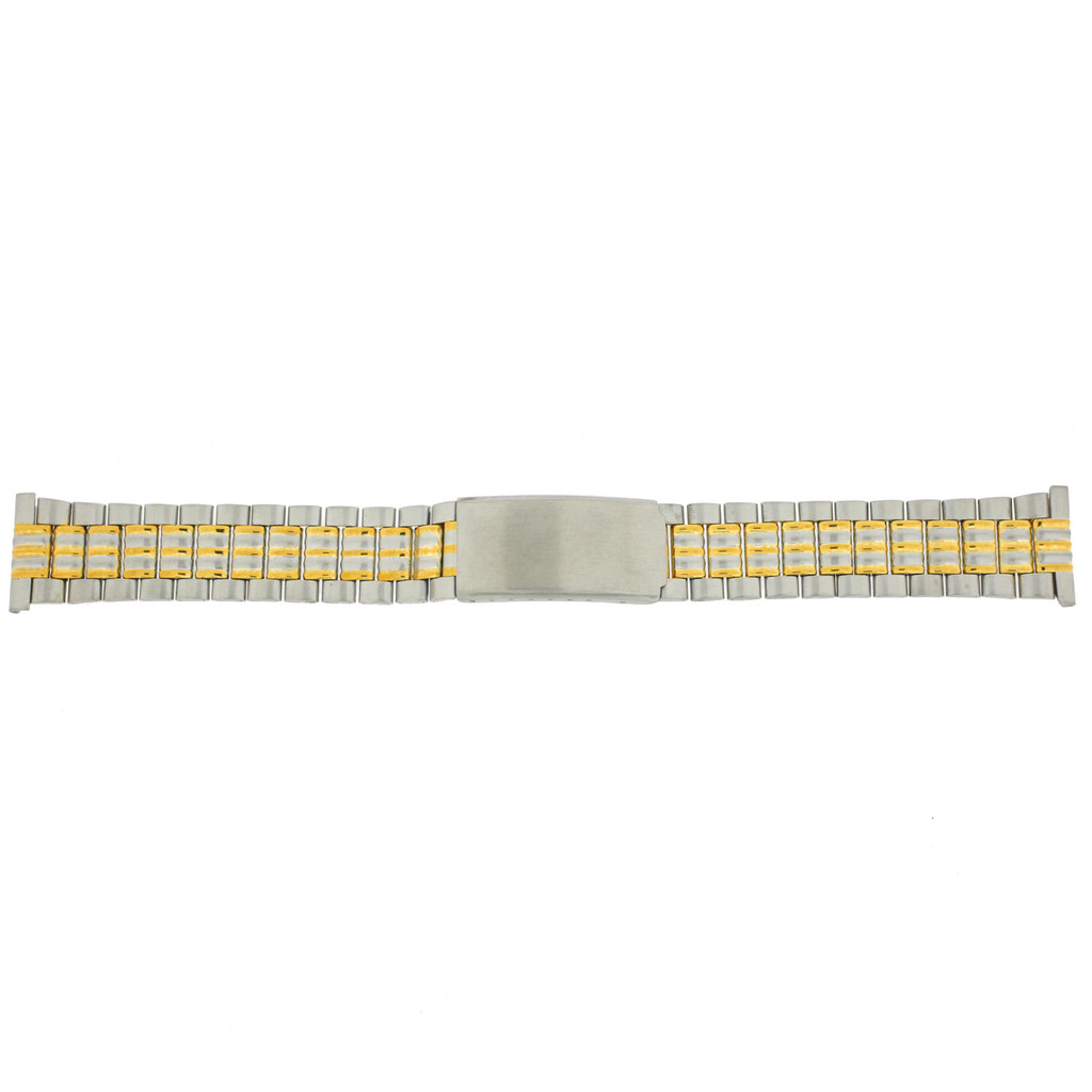 Watch Band Link Metal 2-Tone Straight Ends Mens 20mm