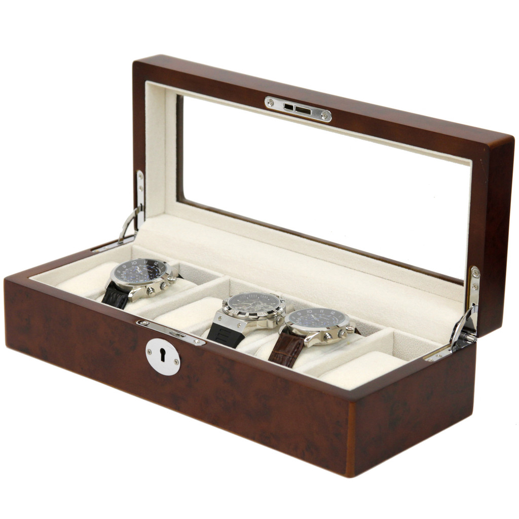 Burlwood Watch box for 6 Watches | TS6100BROWN | Open Side View