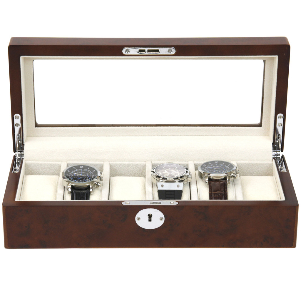 Burlwood Watch box for 6 Watches | TS6100BROWN | Open Front View