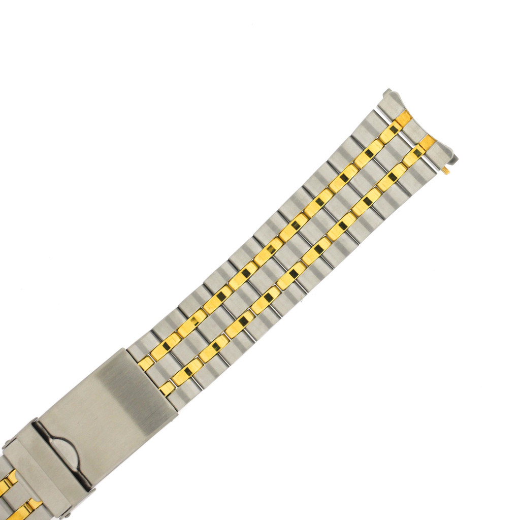 Stainless Steel Gold Plated 2-Tone Metal Watch Band