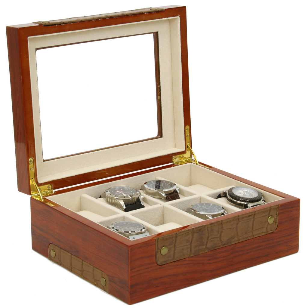 Teak Watch Box with Leather Trim | Stylish Mens Organizers & Accessories |  TechSwiss  TSBOX8200 | Open