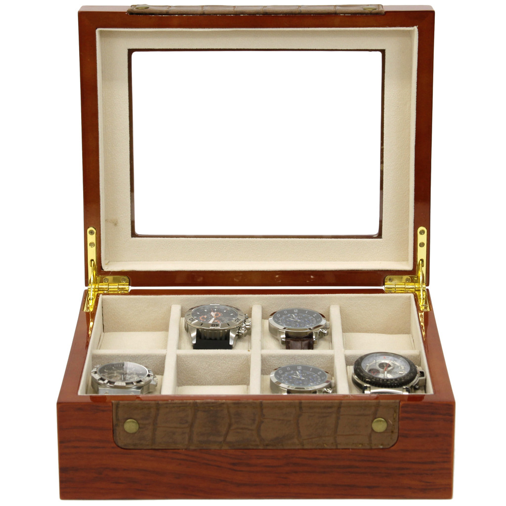 Teak Watch Box with Leather Trim | Stylish Mens Organizers & Accessories |  TechSwiss  TSBOX8200 |