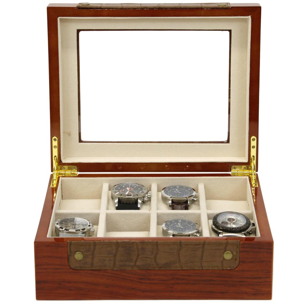 Teak Watch Box with Leather Trim | Stylish Mens Organizers & Accessories |  TechSwiss  TSBOX8200 |