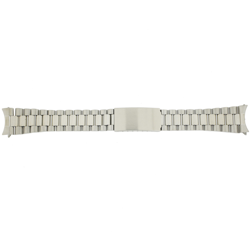 Watch Band Metal Mens Stainless Steel Matte Finish Curved Ends TSMET345