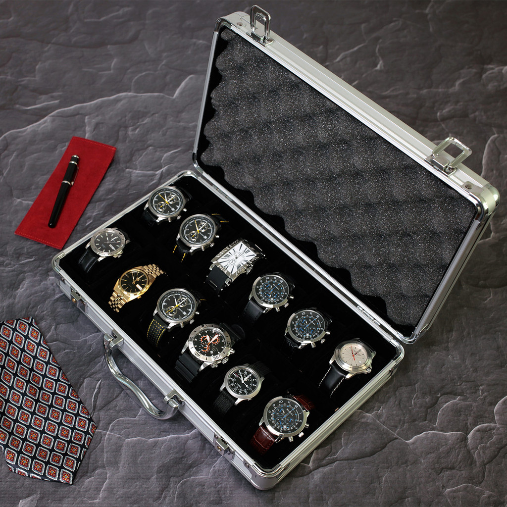 Aluminum Watch Box | Store 12 Watches | AL12 | TechSwiss | Top Open View