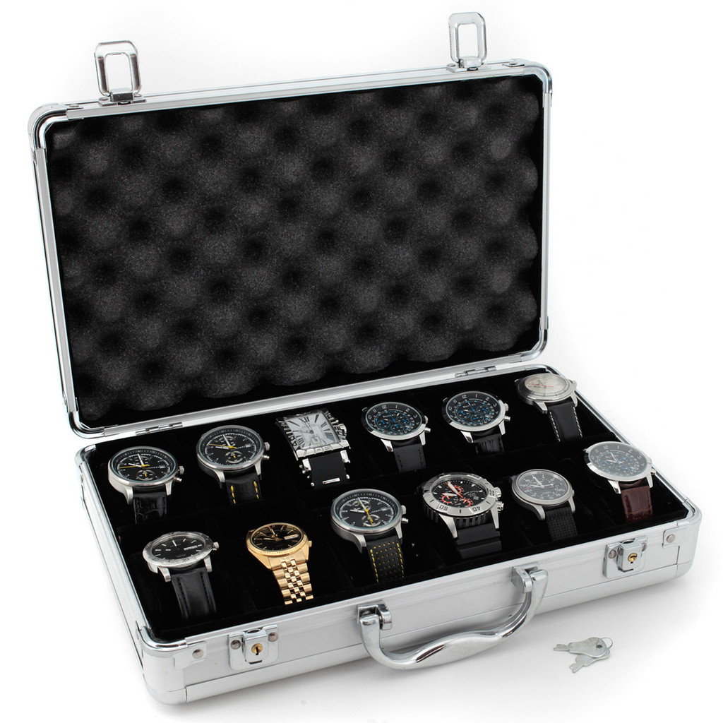 Aluminum Watch Box - Store 12 Watches | TechSwiss | Side Open View
