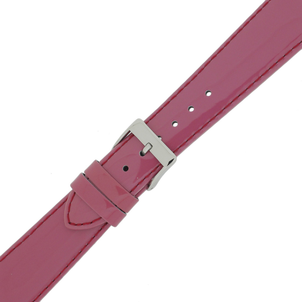 Magenta Patent Leather Watch Band | Fuschia Leather Watch Straps | TechSwiss LEA400 | Buckle