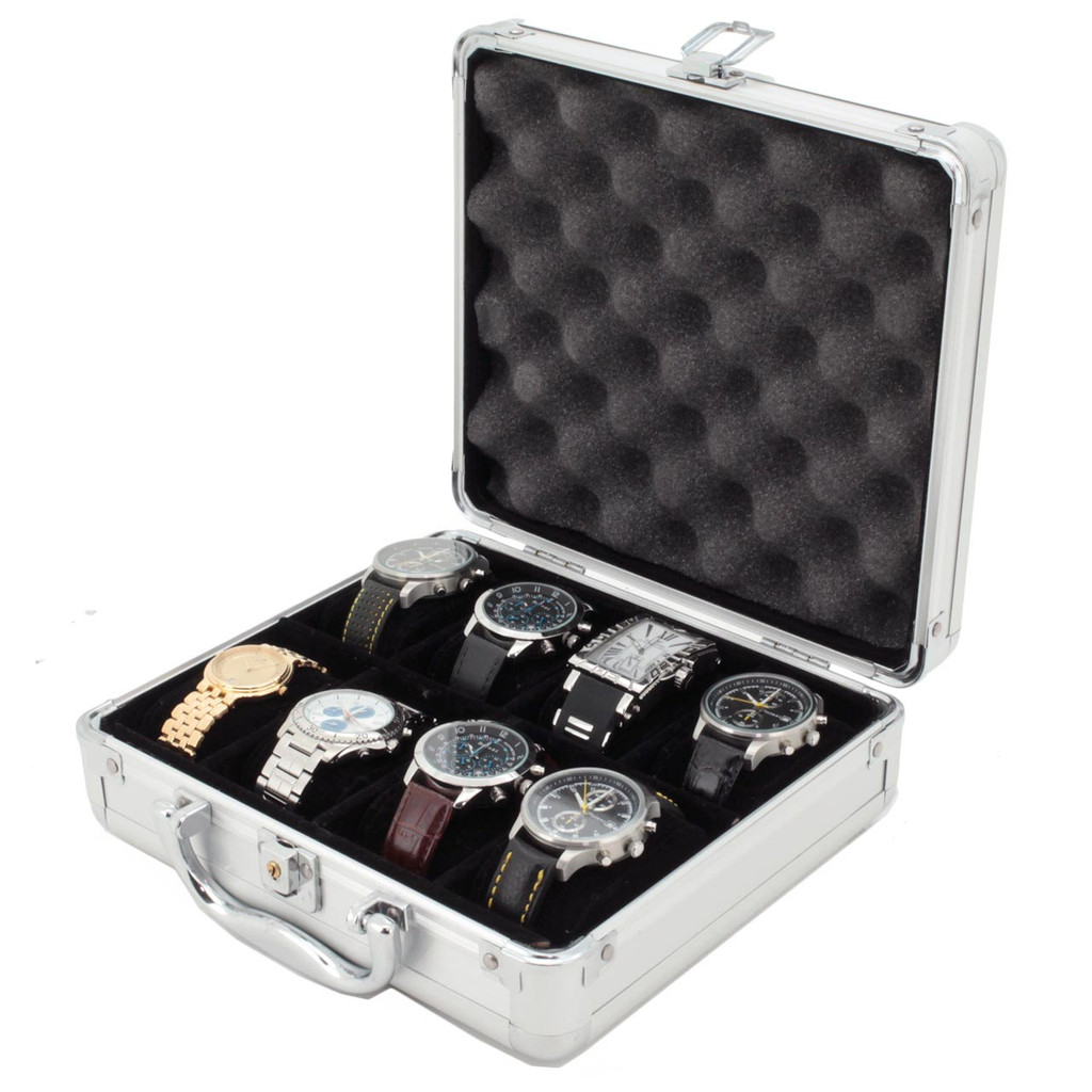 Aluminum Watch Case - 8 Watch Box - TechSwiss - TSBOXAL8 - Front View