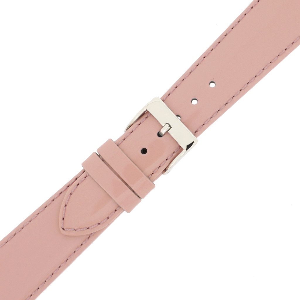Light Pink Patent Leather Watch Band | Pink Glossy Leather Watch Strap | Pink Patent Leather Watch Band | TechSwiss LEA402 | Buckle
