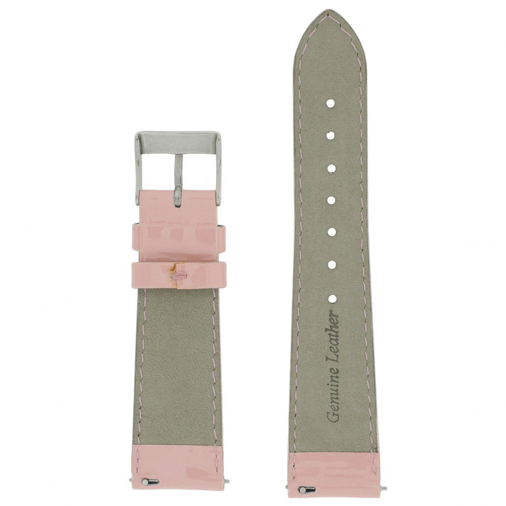 Light Pink Patent Leather Watch Band | Pink Glossy Leather Watch Strap | Pink Patent Leather Watch Band | TechSwiss LEA402 | Lining