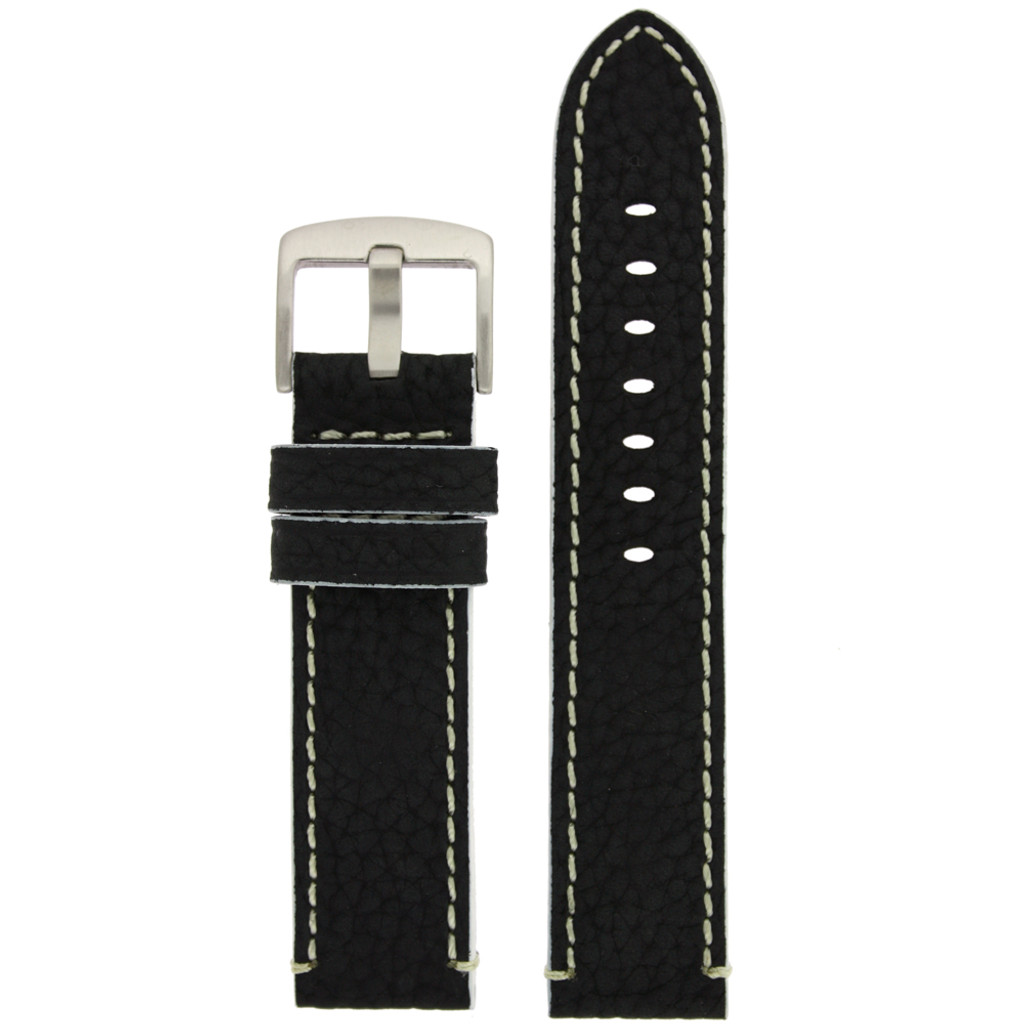 Long Black Leather Watch Band with White Topstitching | Durable Sport Long Leather Watch Straps  | TechSwiss LEA1366) | Main