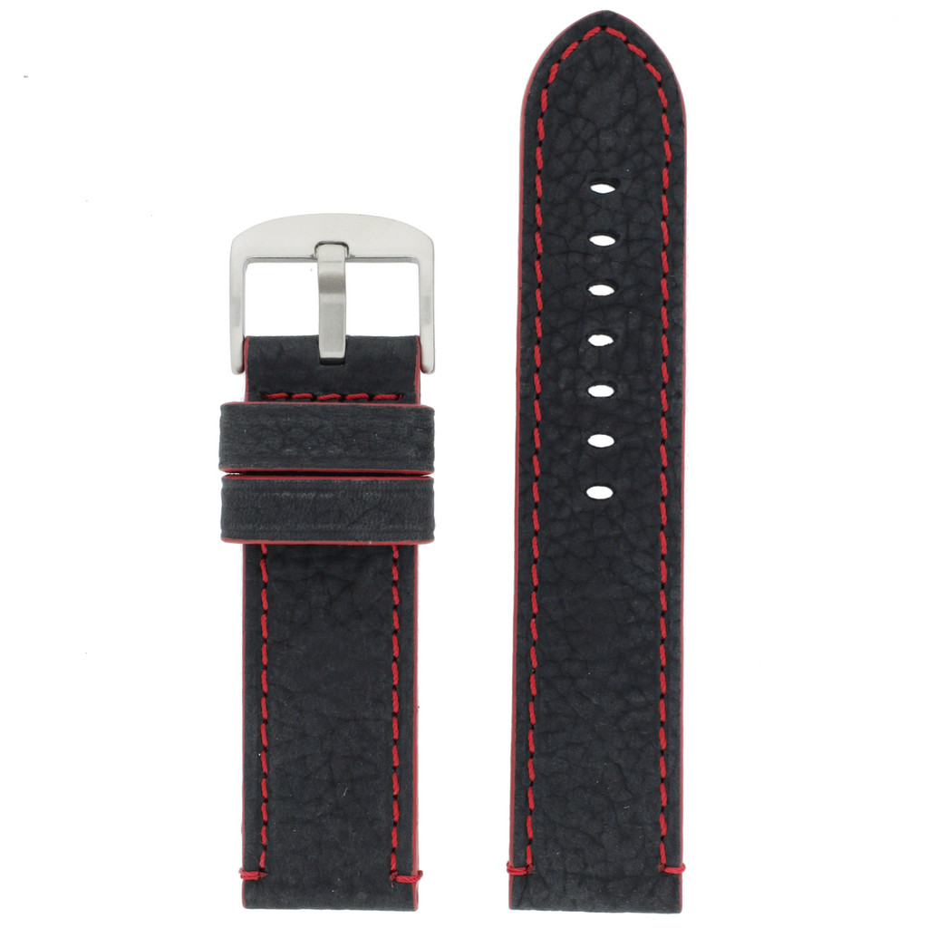 Long Black Leather Watch Band with Red Topstitching | Durable Sport Long Leather Watch Straps  | TechSwiss LEA1369) | Main