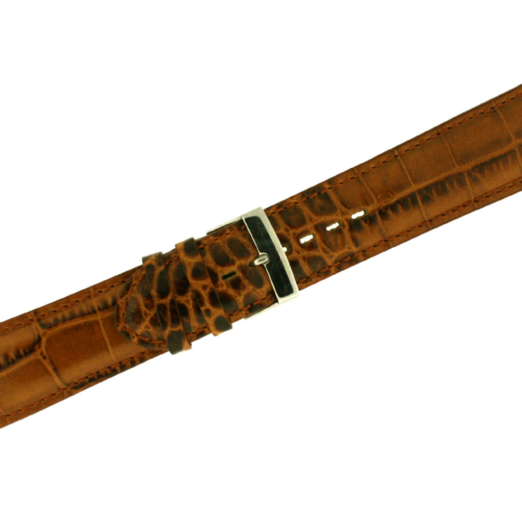 Mens Crocodile Grain Brown Leather Watch Band LEA1364