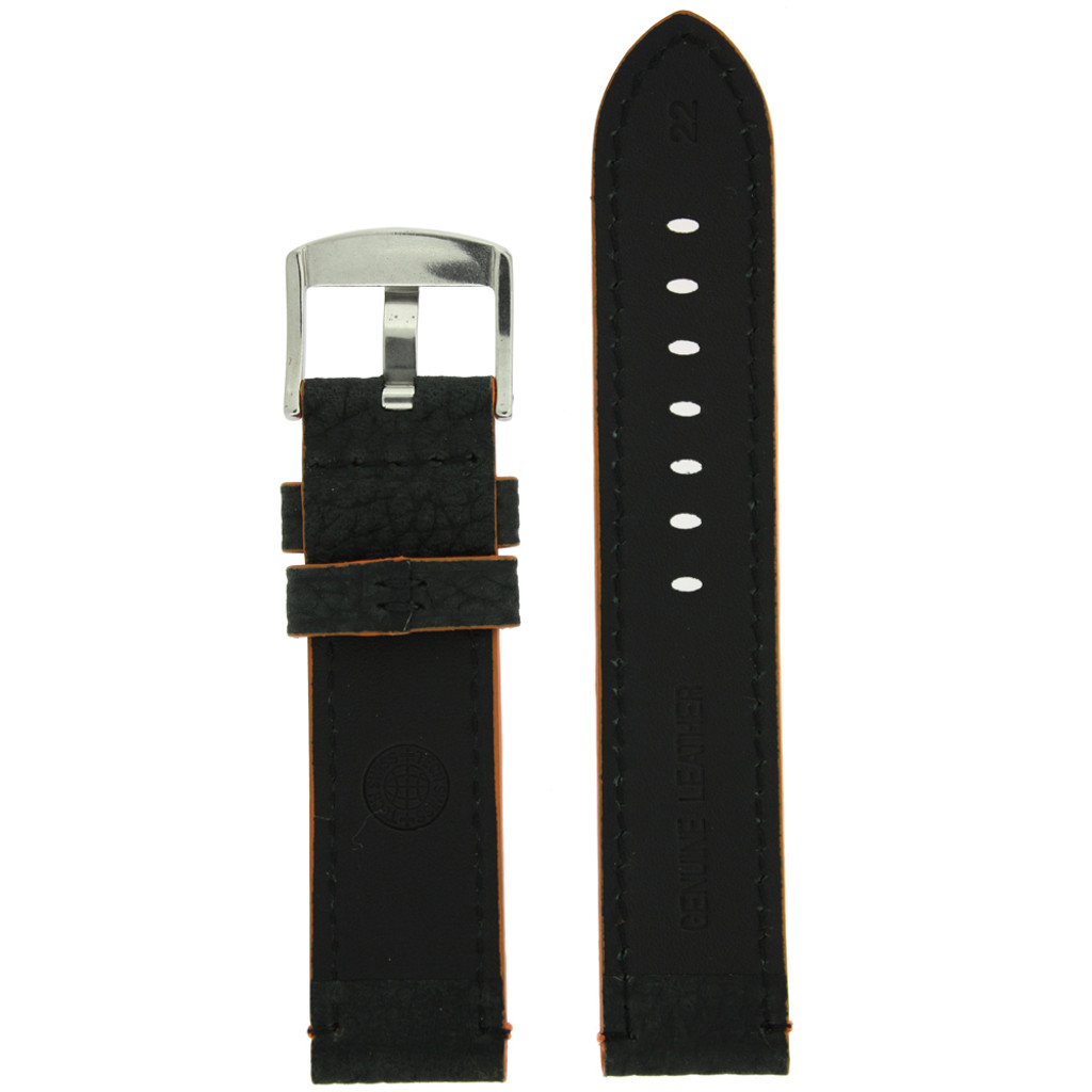 Long Black Leather Watch Band with Orange Topstitching | Durable Sport Long Leather Watch Straps  | TechSwiss LEA1368) | Lining