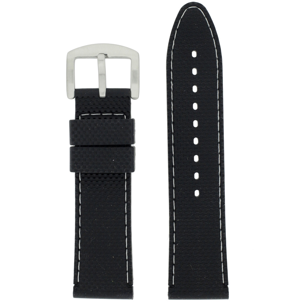Waterproof Silicone Watch Band with White Topstitch   TechSwiss RS141   Main