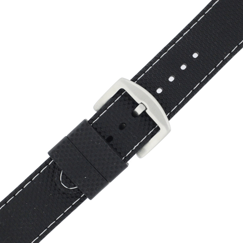 Waterproof Silicone Watch Band with White Topstitch   TechSwiss RS141   Buckle